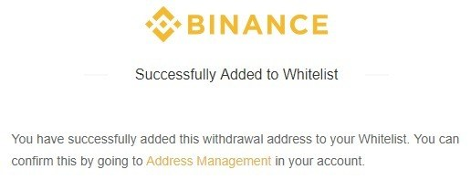 Danh sách trắng địa chỉ rút tiền