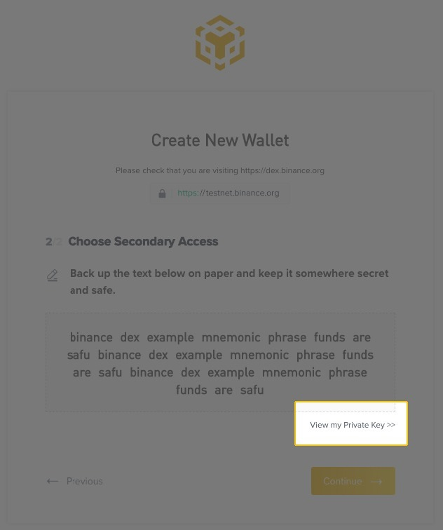 Creare uno Wallet su Binance DEX
