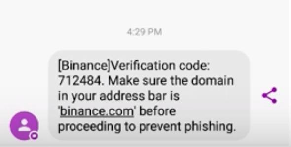 SMS Verification on Binance