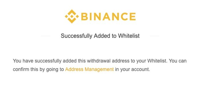 Withdrawal Address Whitelist