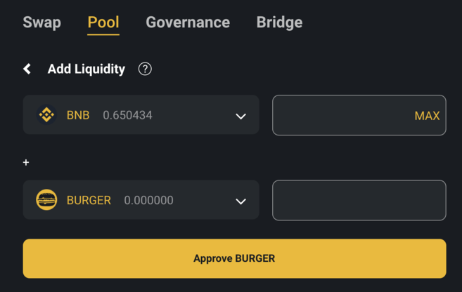 Adding liquidity to BurgerSwap