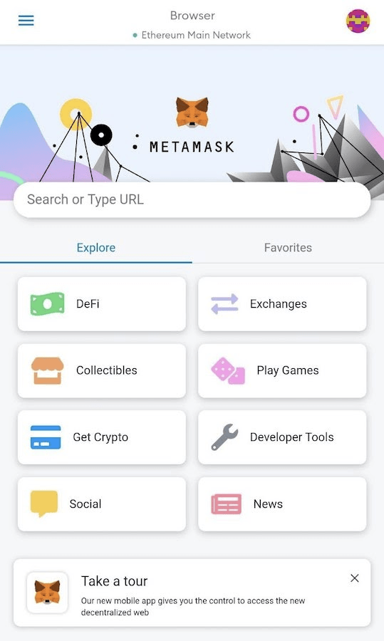 The MetaMask app's browser.