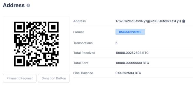 Bitcoin Pizza Day receiving address. Source: blockchain.com.