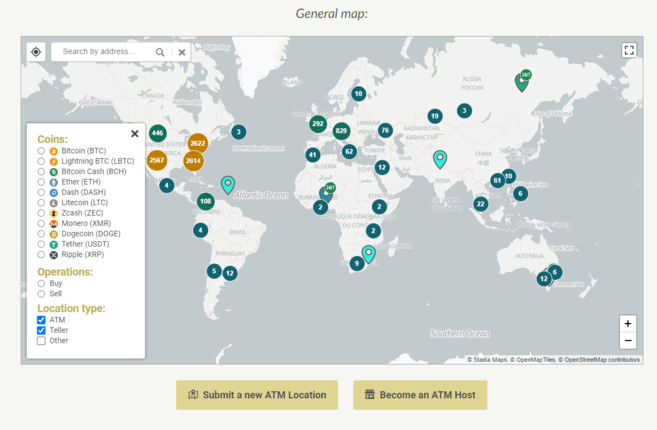 A global Bitcoin ATM map