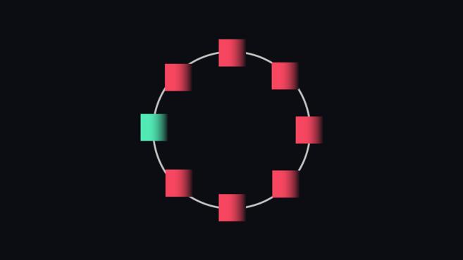 حلقة دائرية تحتوي على سبعة مخاليط.