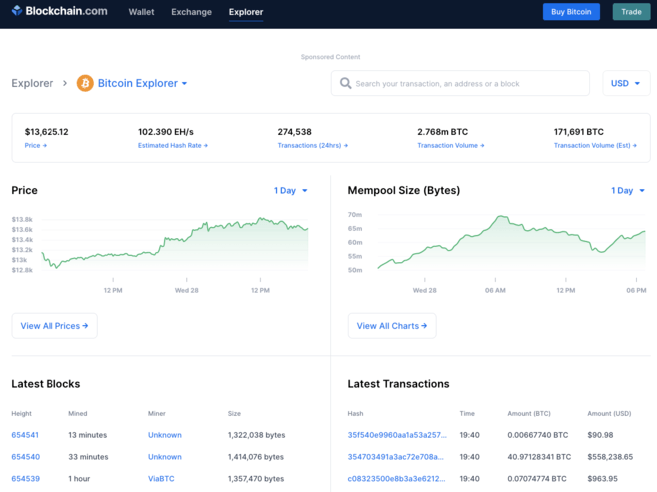 Blockchain.com explorer homepage
