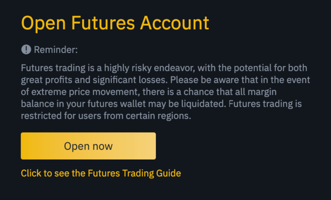 Come creare un account binance futures